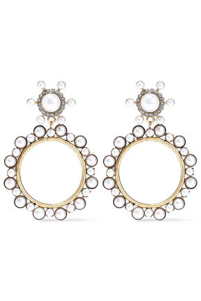 ELIZABETH COLE 24-karat gold-plated, faux pearl and crystal hoop earrings