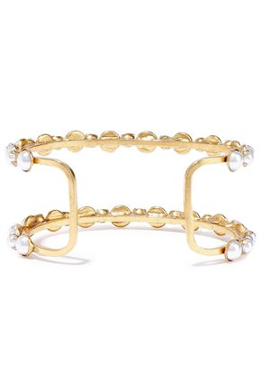 ELIZABETH COLE 24-karat gold-plated faux pearl cuff
