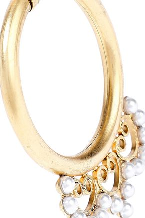 ELIZABETH COLE 24-karat gold-plated faux pearl and crystal hoop earrings