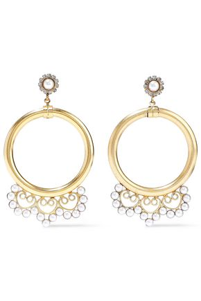 ELIZABETH COLE 24-karat gold-plated faux pearl and crystal hoop earrings