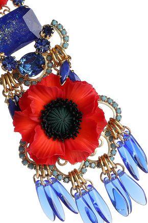 ELIZABETH COLE 24-karat gold-plated, resin and crystal necklace