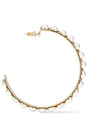 ELIZABETH COLE 24-karat gold-plated faux pearl hoop earrings