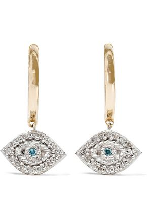 ADINA REYTER 14-karat gold, sterling silver and diamond earrings