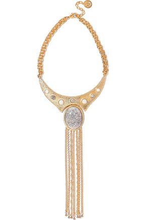 BEN-AMUN 24-karat gold-plated stone necklace