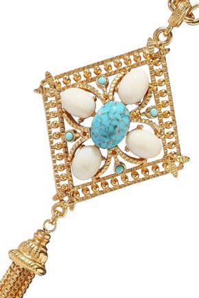 BEN-AMUN 24-karat gold-plated stone tassel necklace