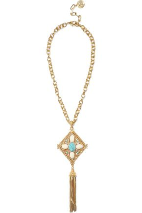 BEN-AMUN 24-karat gold-plated stone tassel necklace
