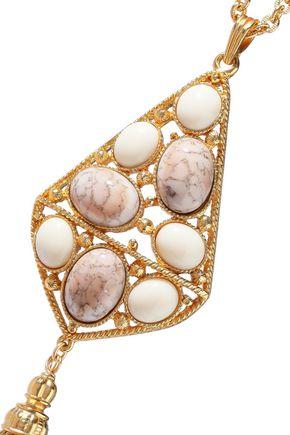 BEN-AMUN 24-karat gold-plated stone and tassel necklace