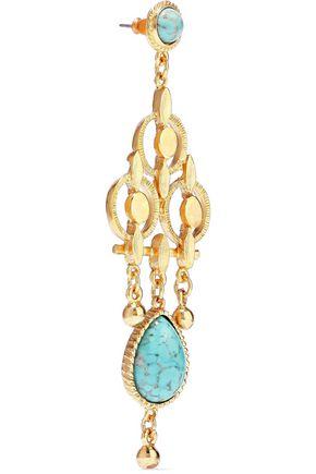 BEN-AMUN 24-karat gold-plated stone earring