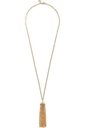 BEN-AMUN 24-karat gold-plated tasseled necklace