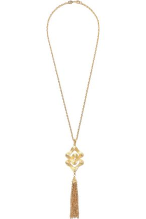 BEN-AMUN 24-karat gold-plated tassel necklace