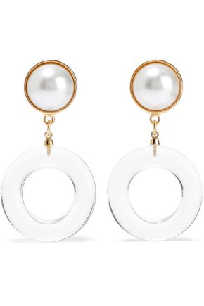 BEN-AMUN Gold-tone, faux pearl and lucite clip earrings