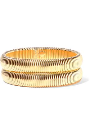 BEN-AMUN Set of two 24-karat gold-plated bracelets