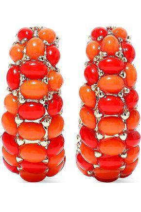 KENNETH JAY LANE 22-karat gold-plated stone hoop clip earrings
