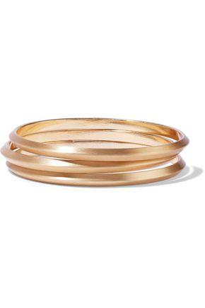 KENNETH JAY LANE Set of three brushed gold-tone bangles