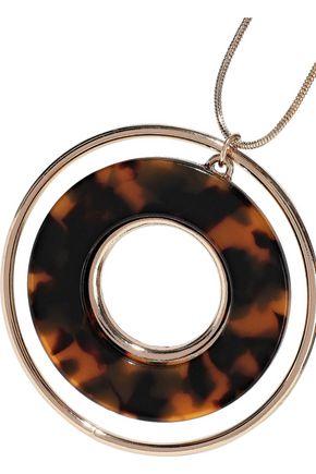 KENNETH JAY LANE Gold-tone tortoiseshell resin necklace