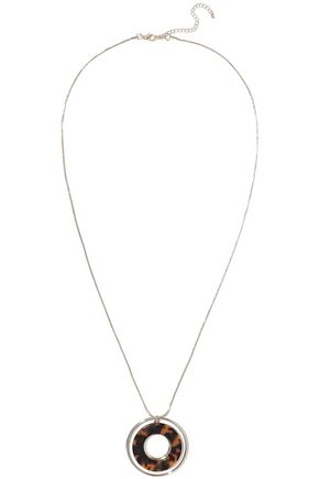 KENNETH JAY LANE Gold-tone tortoiseshell resin necklace