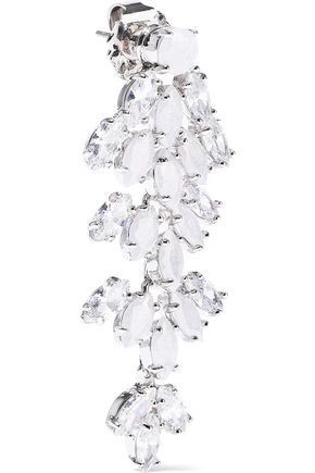 CZ by KENNETH JAY LANE Silver-tone, crystal and stone earrings