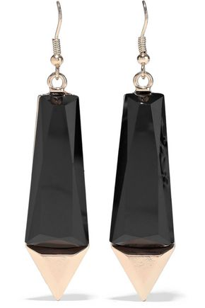 KENNETH JAY LANE 22-karat gold-plated stone earrings