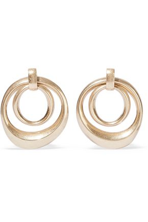 KENNETH JAY LANE Brushed 22-karat gold-plated earrings