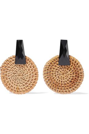 KENNETH JAY LANE Resin and rattan earrings