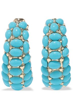 KENNETH JAY LANE 22-karat gold-plated stone clip earrings