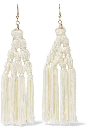 KENNETH JAY LANE Gold-tone tasseled cord earrings