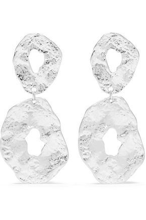 KENNETH JAY LANE Hammered rhodium-plated earrings