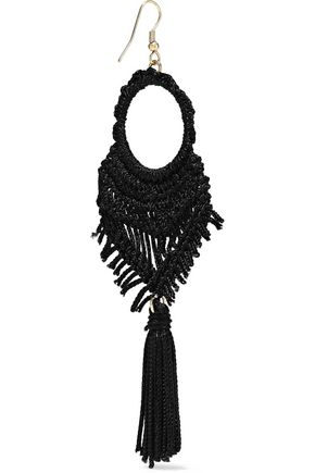 KENNETH JAY LANE Gold-tone, cord and tassel earrings