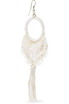 KENNETH JAY LANE Gold-tone tasseled macramé cord earrings