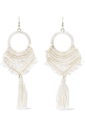 KENNETH JAY LANE Gold-tone tasseled macramé cord earrings