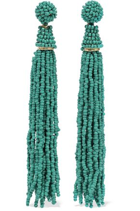 KENNETH JAY LANE Gold-tone beaded tassel earrings