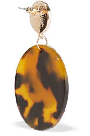 KENNETH JAY LANE 22-karat gold-plated tortoiseshell resin earrings