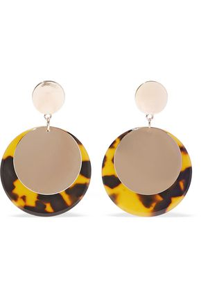 KENNETH JAY LANE 22-karat gold-plated tortoiseshell resin earrings