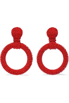 KENNETH JAY LANE Beaded hoop clip earrings