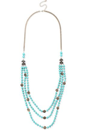 KENNETH JAY LANE Gold-tone, stone and bead necklace
