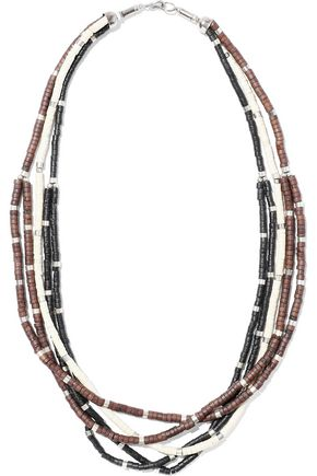 KENNETH JAY LANE | Kenneth Jay Lane Silver-Tone Beaded Necklace | Goxip