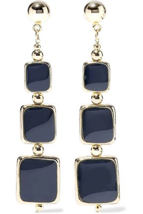 KENNETH JAY LANE 22-karat gold-plated enamel earrings