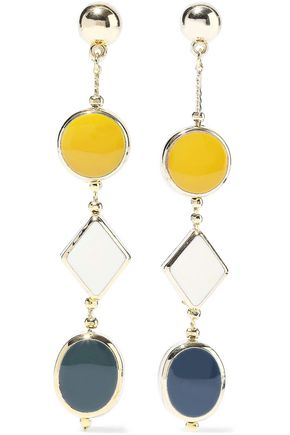 KENNETH JAY LANE Gold-tone enamel earrings