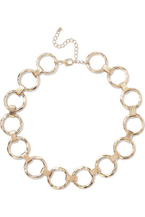 KENNETH JAY LANE Hammered 22-karat gold-plated necklace