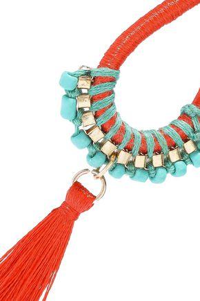 KENNETH JAY LANE Gold-tone, cord, bead and tassel earrings
