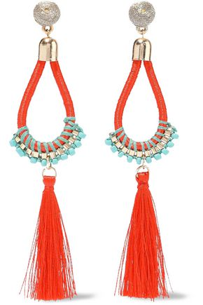 KENNETH JAY LANE Gold-tone, cord, bead and tassel earrings