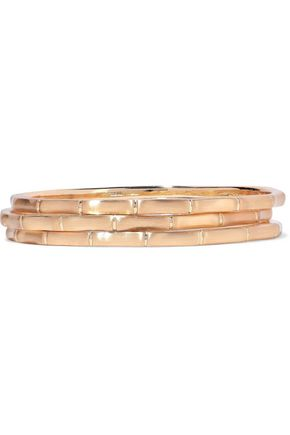 KENNETH JAY LANE Set of three brushed 22-karat gold-plated bangles
