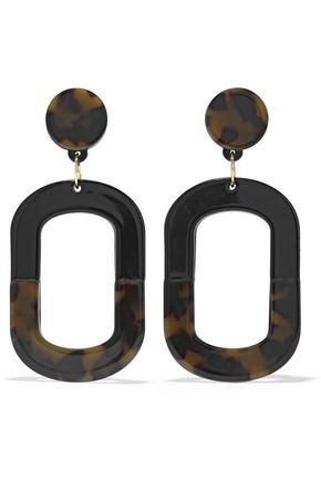 KENNETH JAY LANE 22-karat gold-plated tortoiseshell enamel earrings