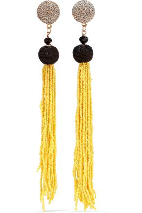 KENNETH JAY LANE Gold-tone, cord and beaded tassel earrings