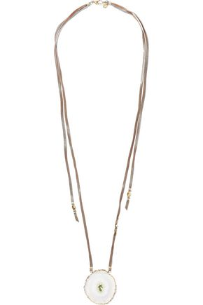 CHAN LUU Gold-tone, leather and quartz necklace