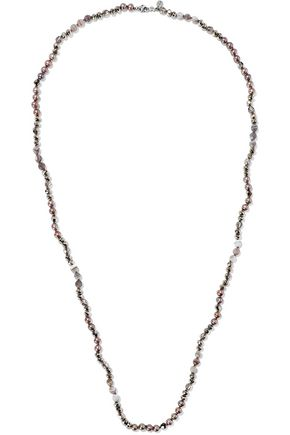 CHAN LUU Sterling silver, freshwater pearl, Swarovski crystal and bead necklace