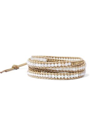 CHAN LUU Leather, bead and cord wrap bracelet