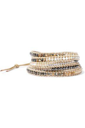 CHAN LUU Leather, semi-precious stone, Swarovski crystal and bead wrap bracelet