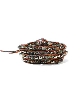 CHAN LUU Leather, abalone, Swarovski crystal, titanium and cord wrap bracelet