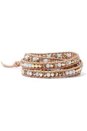 CHAN LUU Leather, amazonite, Swarovski crystal and bead wrap bracelet